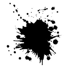 SIngle big black ink splash, grunge vector design