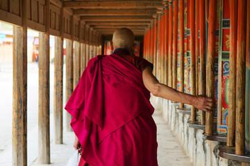 pilgrim at labrang monastery ,Xiahe,china Wall mural
