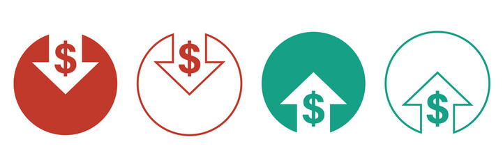 cost reduction icons for web design. line style. cost reduction vector icons