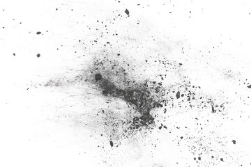 Black powder explosion, charcoal dust texture isolated on white background