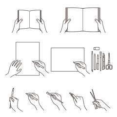 手のしぐさ 02 本 図画工作