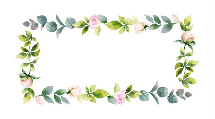 Watercolor vector hand painting frame of peony flowers and green leaves.