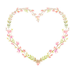 Watercolor vector hand painting frame of pink flowers and green leaves.