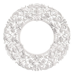 Classic white round frame with ornament decor isolated on white background
