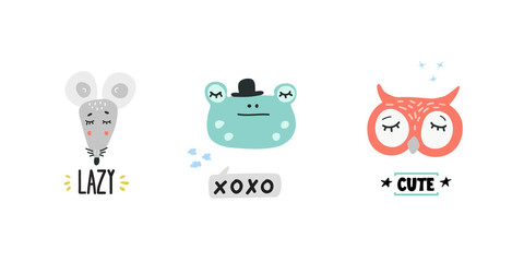 Cute animals heads vector illustrations