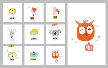 Cute animals set of vector illustrations