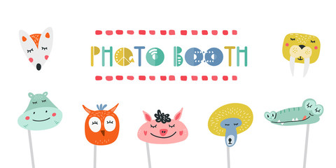 Kids photo booth props set vector illustration