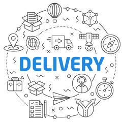 Flat lines illustration for presentation delivery