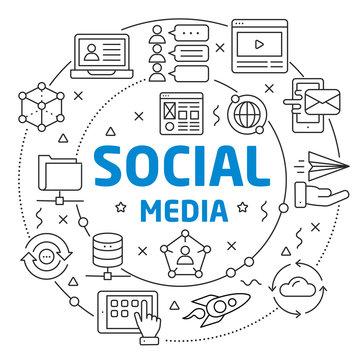 Flat lines illustration for presentation social media