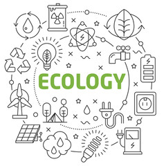 Lines Illustration Flat Circle and icons ecology