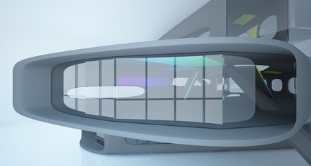 Abstract dynamic interior with black and colored gradient smooth objects. 3D illustration and rendering