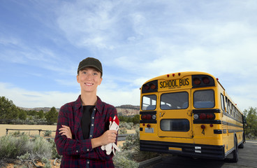Smiling woman school bus driver