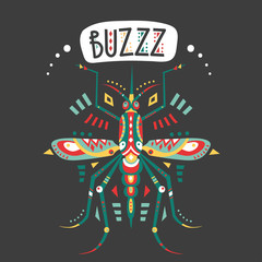 Vector hand-drawn illustration with stylized mosquito and lettering on a black background.