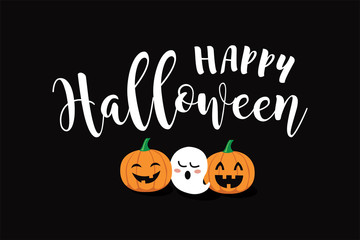 Happy Halloween vector text banner with funny spider, pumpkin and ghost.