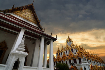 Loha Prasat at Wat Ratchanadda temple,This is the beauty of architecture and Buddhist temples in Bangkok