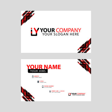 Horizontal name card with decorative accents on the edge and bonus IY logo in black and red.