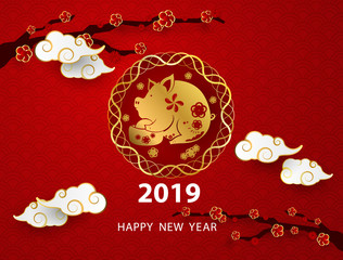 Happy chinese new year 2019 banner card pig gold vector graphic and background