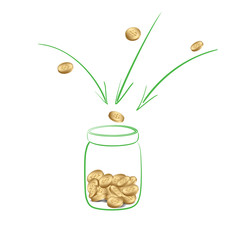 fundraising or donation - collect money into glass jar - vector