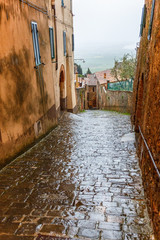 Street Alley in an Italian town in the rain