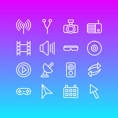 Vector illustration of 16 media icons line style. Editable set of net, reload, satellite and other icon elements.