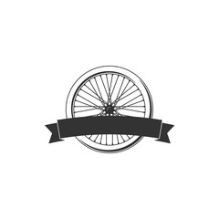 Bike badge vector. Bike logo. Bicycle wheel with a ribbon