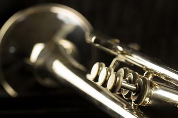 Drei Ventile einer Trompete