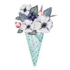 Icc cream horn watercolor clipart