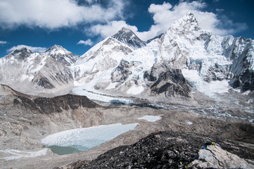 Scenic view of Everest Base Camp against cloudy sky