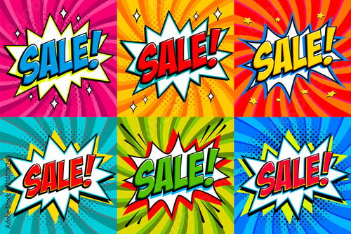 Big sale set  Comic style template banners  4 Sale