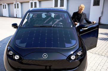 """Jona Christians, co-founder of German solar car company Sono Motors enters their prototype car """"Sion"""" in Munich"""