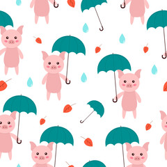 Seamless pattern cute pig with umbrella. Fall theme. Background for kids. Vector illustration.