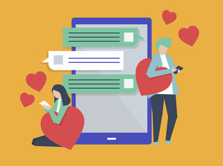 Characters of a couple messaging on a mobile illustration