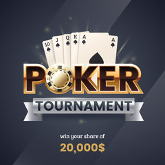 Casino poker tournament banner. Gold text with a playing chip and cards. Royal flush poker combination. Applicable for promotion ticket, flyer. Vector illustration.