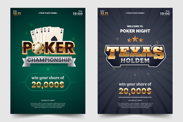 Casino poker tournament a4 flyer. Gold text with playing chips and cards. Texas hold'em championship. Poker party invitation template. Vector illustration.