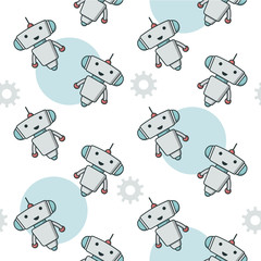 Cute robot sameless pattern for kids project. Chart bot vector pattern. Vector modern flat cartoon character illustration. Support service chat bot, virtual online help customer support.
