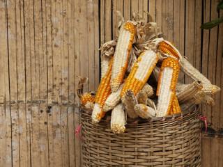 bamboo hut with corn