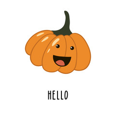 Cute cartoon orange pumpkin with a smile. Isolated on white character.