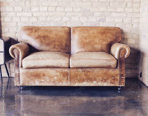 Living Room With Vintage Style Leather Sofa