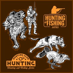 hunting collection - foxhunting and hunting labels