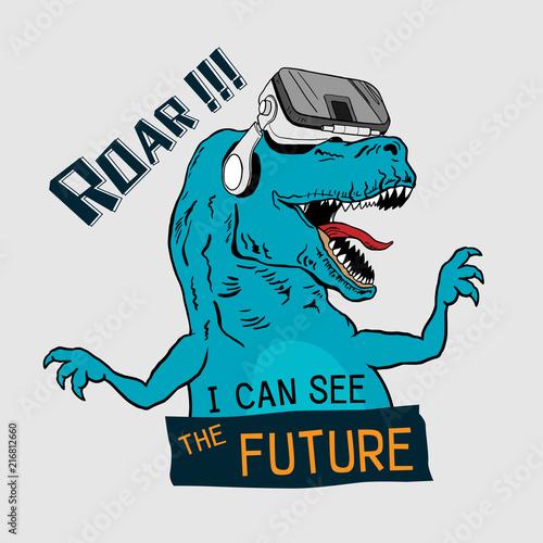 Dinosaur Tyrannosaurus Rex With Virtual Glasses Graphic Tee Vector Design For T Shirt