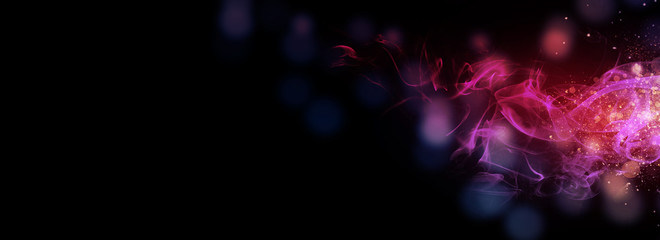 Wall Mural - Dark abstract bokeh background, magic smoke and sparks, neon