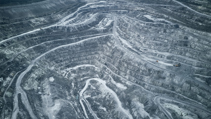 Aerial view of asbestos opencast mining quarry - view from above. Panorama of the quarry mining.