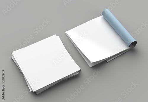 Square magazine, brochure or catalog mock up isolated left