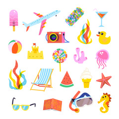 Set of summer elements for travel, beach, or party posters
