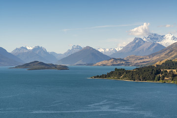View from Bennets Bluff Lookout over Lake Wakatipu, Pig and Pigeon Islands and Mt Aspiring NP. Mount Creighton, Queenstown Lakes district, Otago region, South Island, New Zealand.