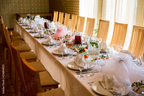 Banquet Table Setting At Restaurant