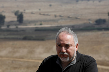Israeli Defence Minister Avigdor Lieberman delivers statement during his visit at an army drill in the Israeli-occupied Golan Heights