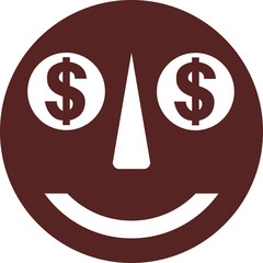 Funny smiley face with dollar sign eyes vector image