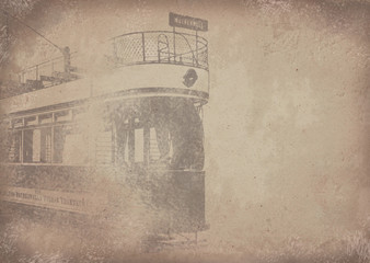 """Old vintage grunge paper tram/streetcar """"Motherwell"""" background - Historisches Papier mit Straßenbahn Motiv"""