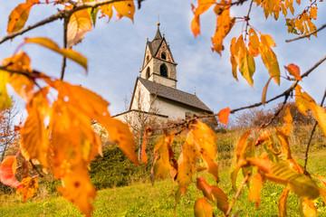 The church of San Bernardo in an autumnal landscape with cherry trees leafs. La Villa, Val Badia, Trentino Alto Adige, Italy